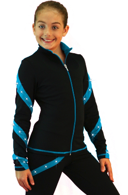 ChloeNoel Colored Zipper Spiral Skate Crystals Jacket
