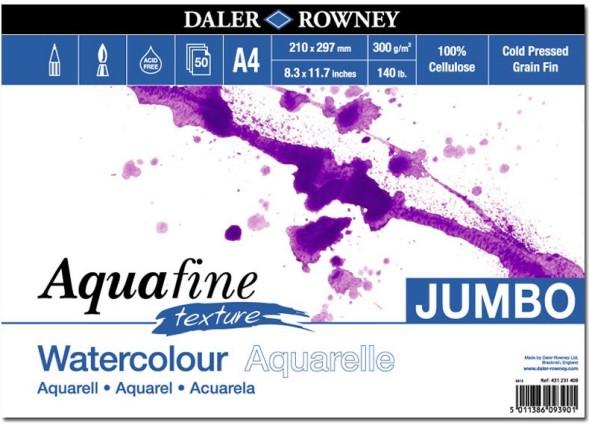 Akvarellilehtiö Aquafine A4 Jumbo texture