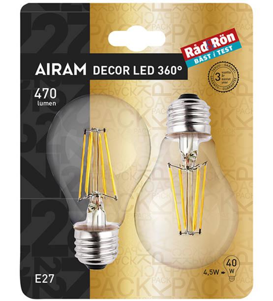 AIRAM DECOR LED 360° E27 VAKIOLAMPPU 470LM 2 KPL