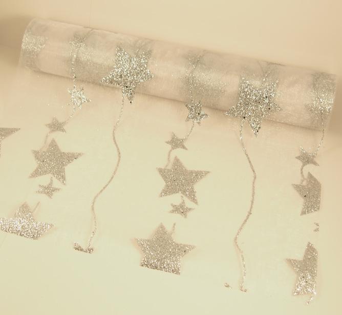 Tähtikangas hopea (metreittäin) KANG2