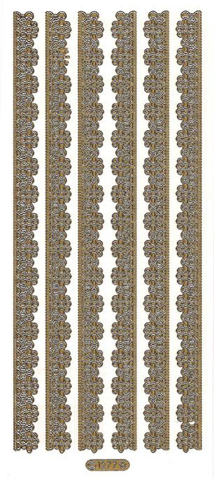 ÄT kukkapitsiboordi kulta (1277) lev.1,3cm, pit.21,1cm,6kpl