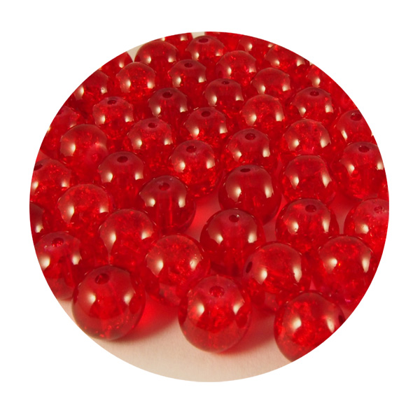 Krakleerattu lasihelmi  punainen 8mm 65kpl