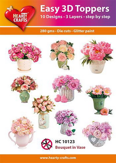 Hearty crafts helpot 3d-kuvat Bouguet in Vase