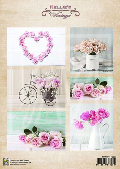 Nellies kuva-arkki VIntage roses A4