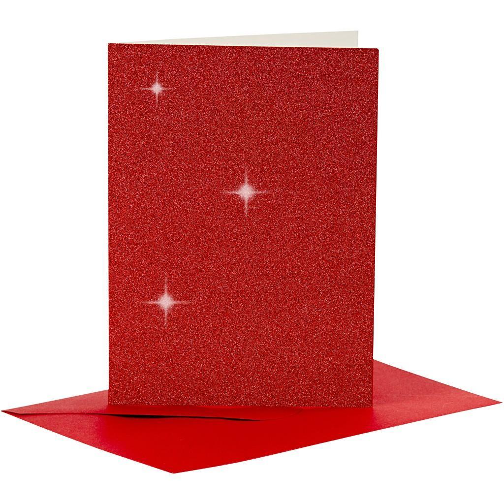 Kimallekorttipohjat punainen 4kpl+valkeat kuoret 4kpl