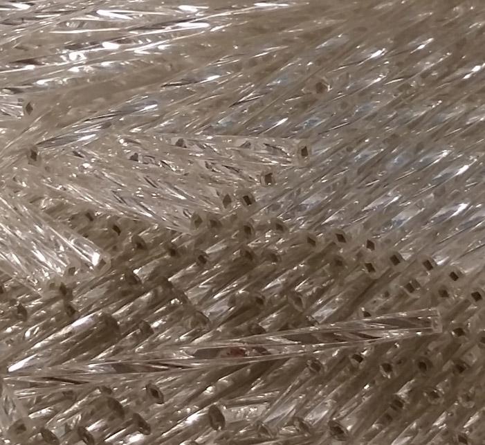 60mm kierteinen lasiputkihelmi hopea 100g