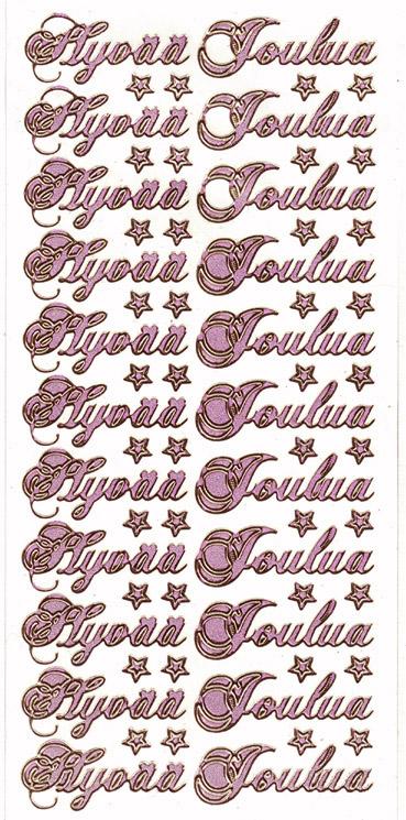 Ät Hyvää Joulua kauno glitter pinkki
