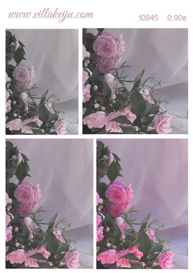 Korttikuva-arkki Lilat ja pinkit ruusut A4