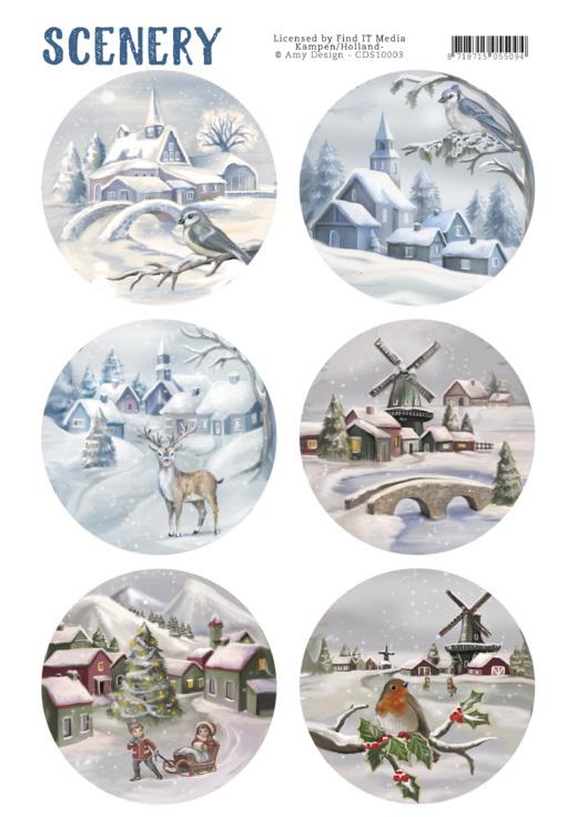 Amy design stanssatut korttikuvat talvi ympyrät A4
