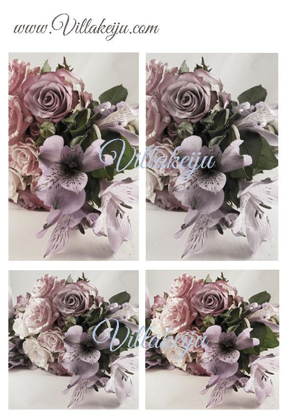 Korttikuva-arkki lilat kukkakimput A4
