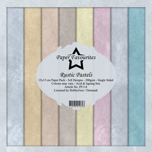 Paperilehtiö Rustic pastels 15x15cm 24kpl 200gsm