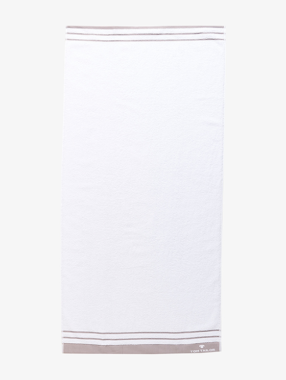 White / Stone (valkoinen vaalean beigenharmain raidoin)