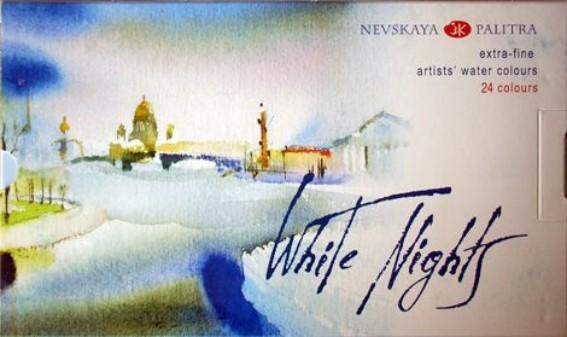 White Nights akvarellivärit 24 nappia muovirasia