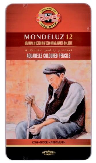 Mondeluz akvarellikynät 12 peltirasia