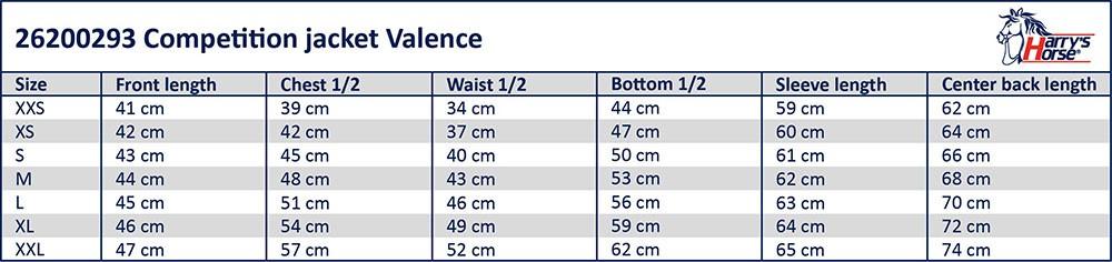 HH Valence lyhyen frakin mittataulukko