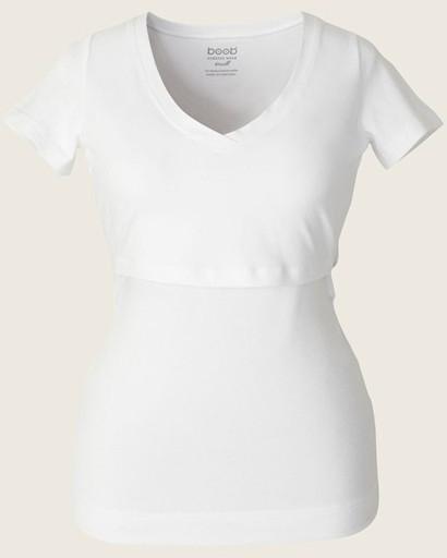 Valkoinen Imetys T-paita Boob N-top V-neck SS | Imetyspaidat Bellabambina.fi