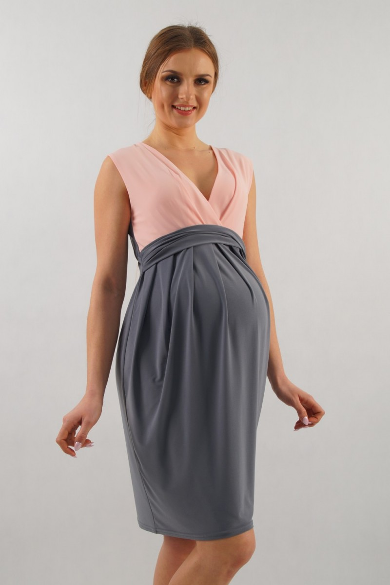 Raskaus-Imetys-mekko Haloo! 1072 Harmaa-roosa