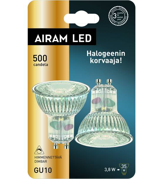 AIRAM GU10 HIMMENNETTÄVÄ 500CL 3,8W 2 KPL