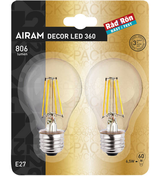 AIRAM DECOR LED 360° E27 VAKIOLAMPPU 806LM 6,5W