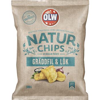 OLW NATUR CHIPS GRÄDDFIL & LÖK 150 G