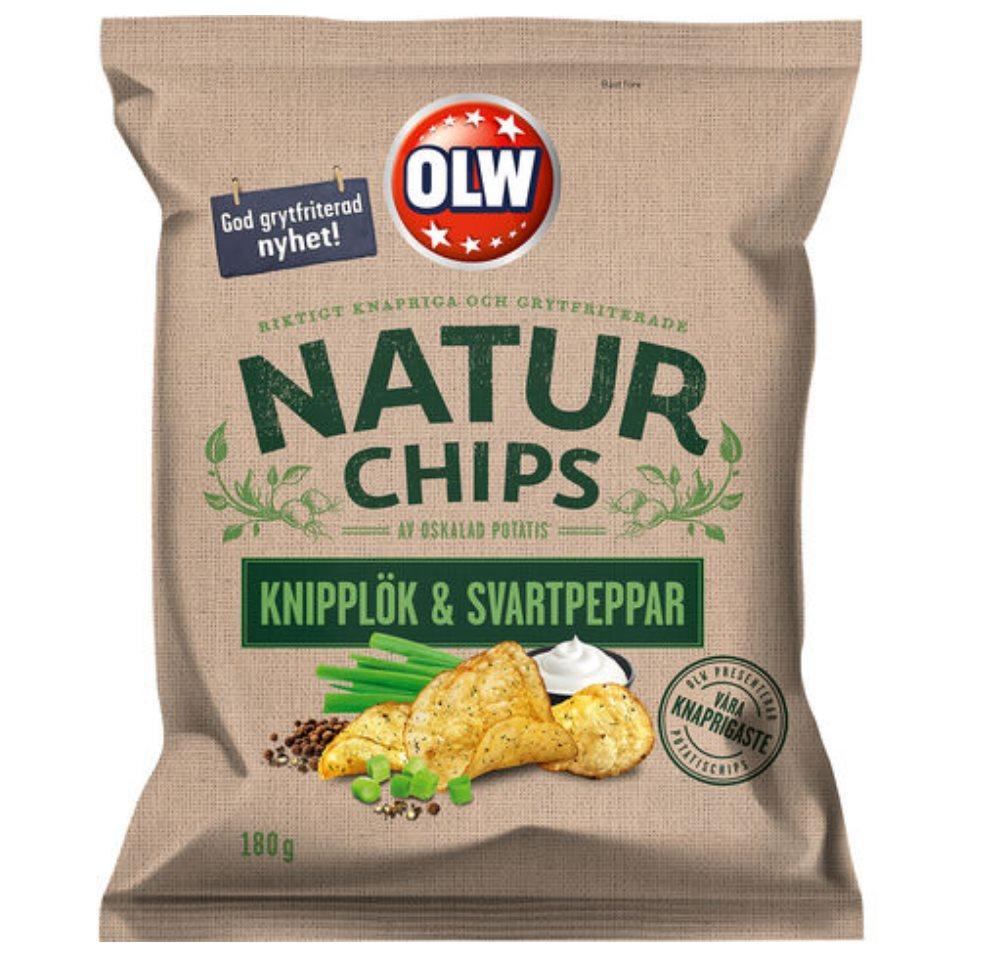 OLW NATUR CHIPS KNIPPLÖK & SVART 180G